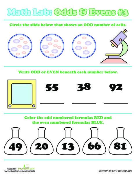 First Grade Math Worksheets: Math Lab: Odds & Evens #3