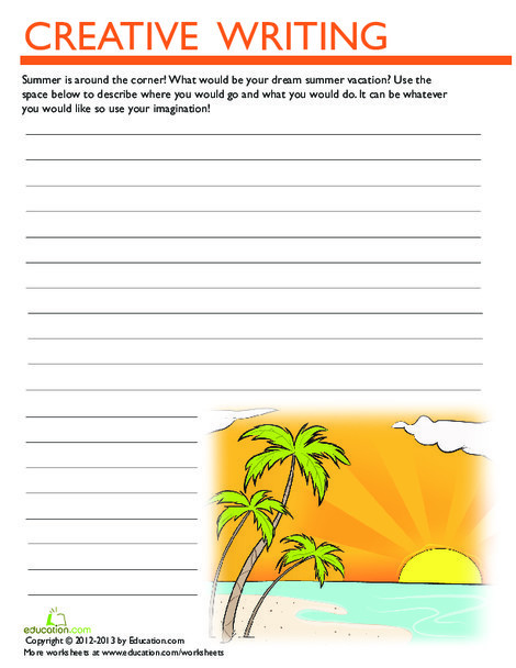 Third Grade Reading & Writing Worksheets: Summer Vacation Writing Prompt