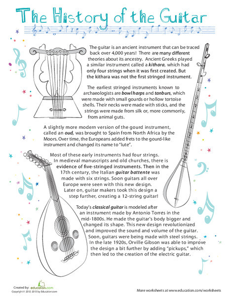 Fourth Grade Social studies Worksheets: History of the Guitar