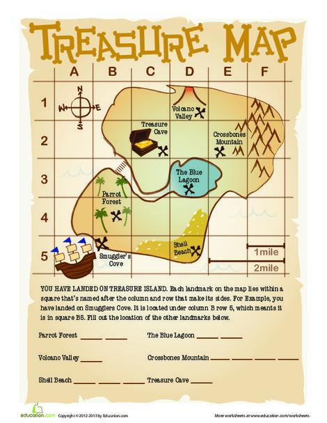 Second Grade Social studies Worksheets: Treasure Map Grid