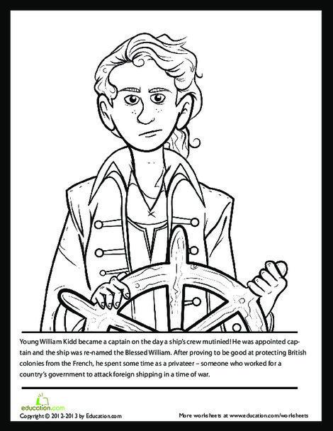 Second Grade Reading & Writing Worksheets: Captain Kidd