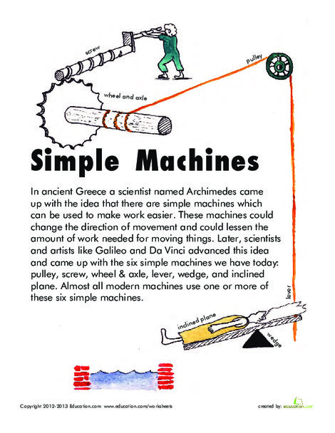 Second Grade Science Worksheets: Simple Machines