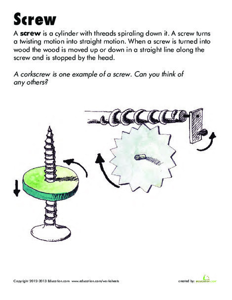 Second Grade Science Worksheets: Simple Machines: Screw