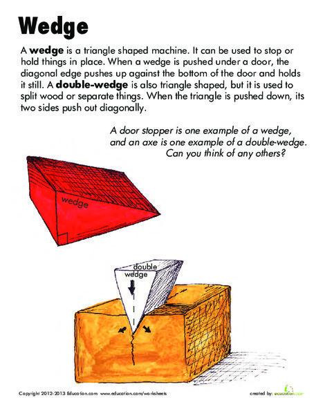 Second Grade Science Worksheets: Simple Machines: Wedge