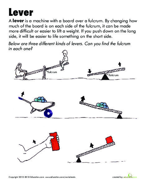 Second Grade Science Worksheets: Simple Machines: Lever