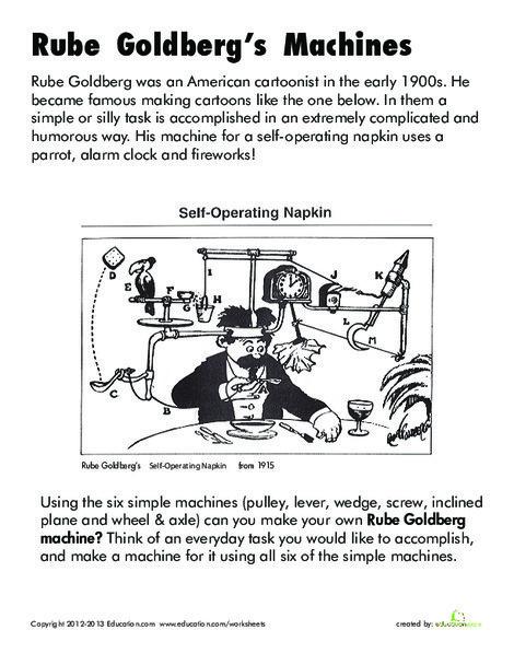 Second Grade Science Worksheets: Rube Goldberg Machines