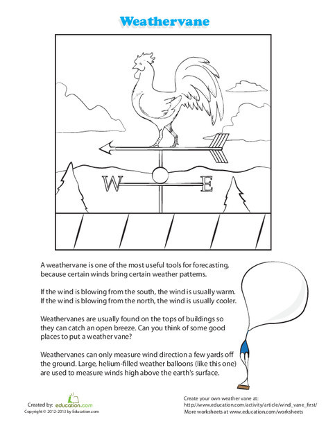 First Grade Science Worksheets: Weathervane Coloring Page