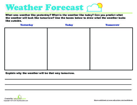 First Grade Science Worksheets: Predicting Weather