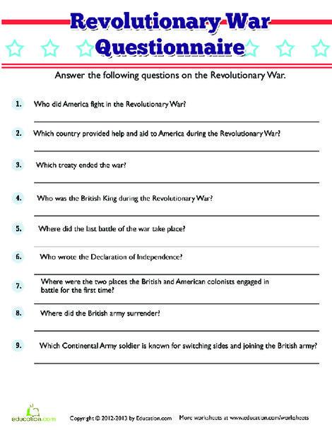 Fifth Grade Social studies Worksheets: Revolutionary War Trivia