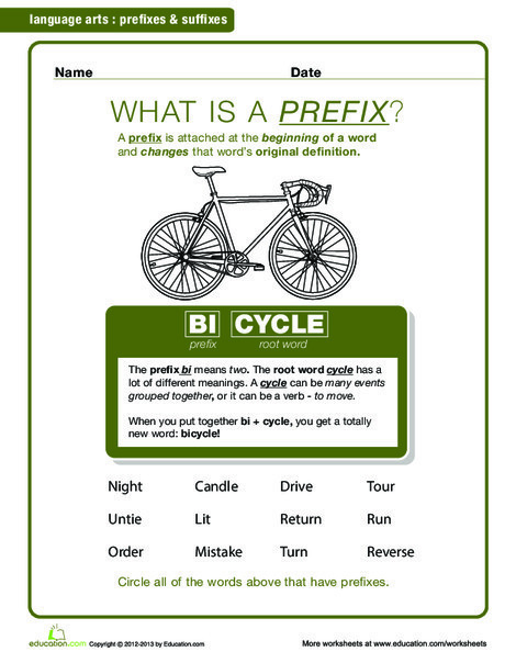 Second Grade Reading & Writing Worksheets: What is a Prefix?