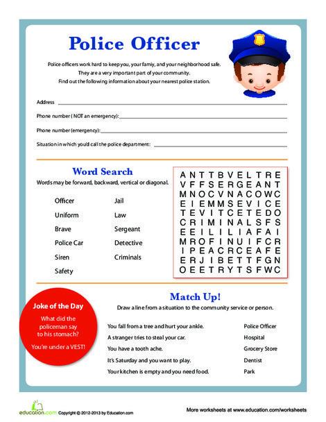 Second Grade Social studies Worksheets: Community Police Officer Info Printable