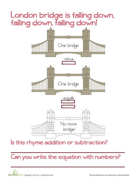 Preschool Reading & Writing Worksheets: London Bridge Subtraction