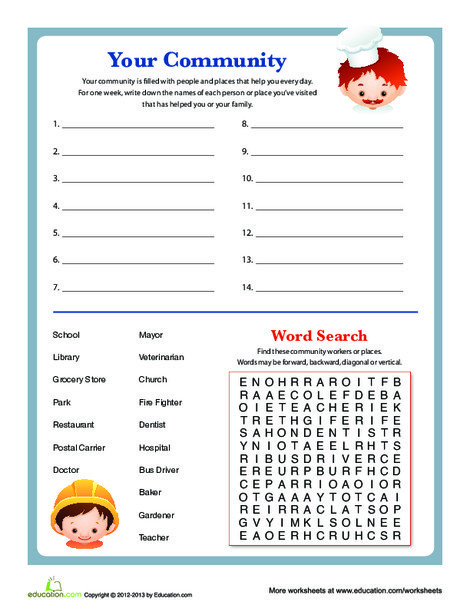Second Grade Social studies Worksheets: People in Your Community