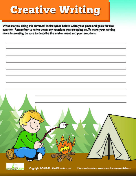 Third Grade Reading & Writing Worksheets: Summer Writing
