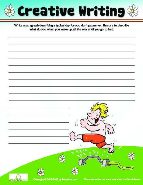 Third Grade Reading & Writing Worksheets: Summer Creative Writing