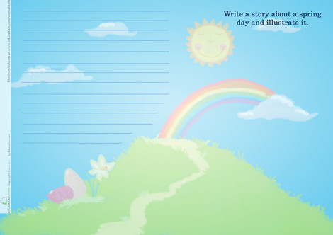 First Grade Reading & Writing Worksheets: Write a Spring Story