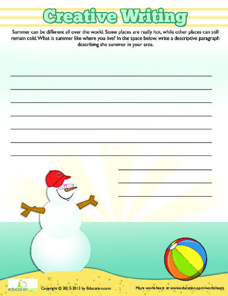 Third Grade Reading & Writing Worksheets: Writing About Summer