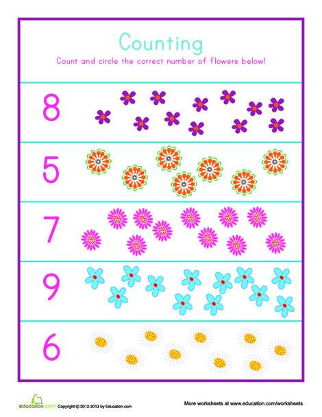 Kindergarten Math Worksheets: Flower Counting