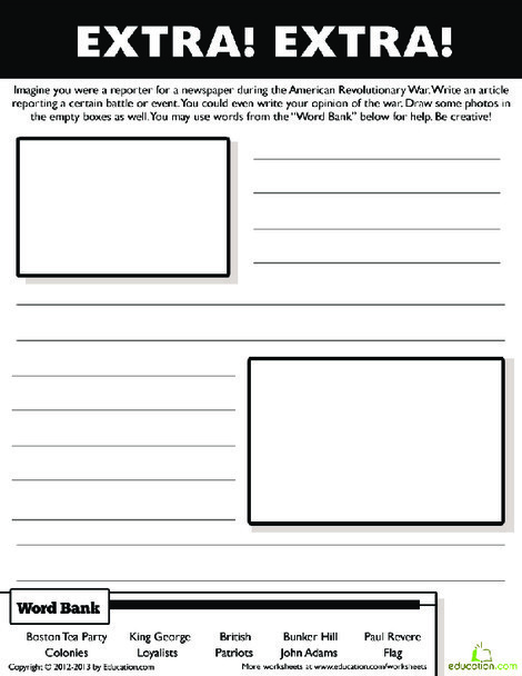 Fifth Grade Reading & Writing Worksheets: Colonial America Writing Prompt