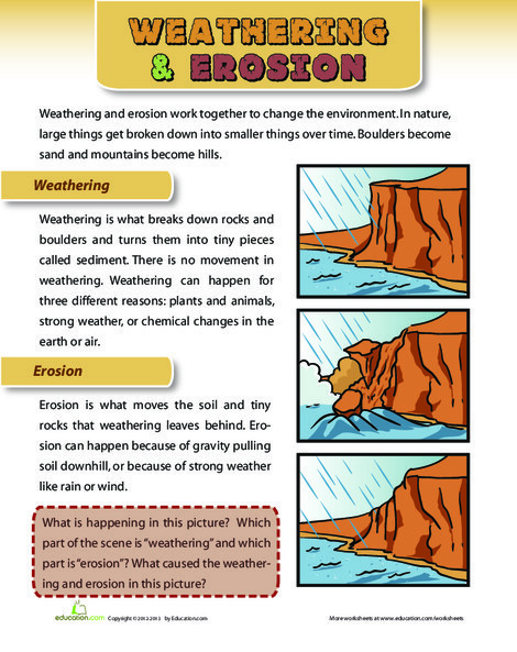 Second Grade Science Worksheets: Weathering and Erosion