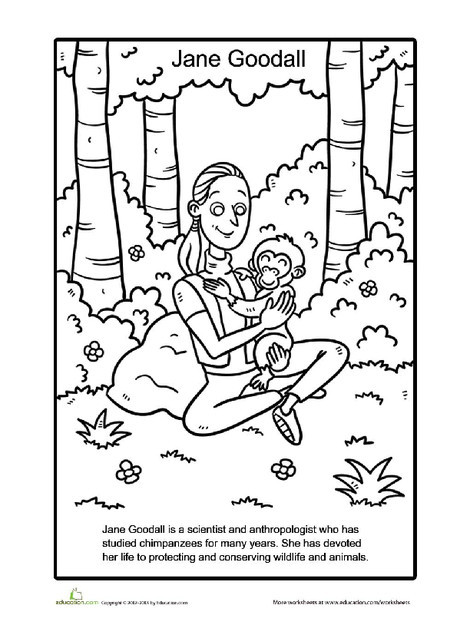 First Grade Social studies Worksheets: Jane Goodall Coloring Page