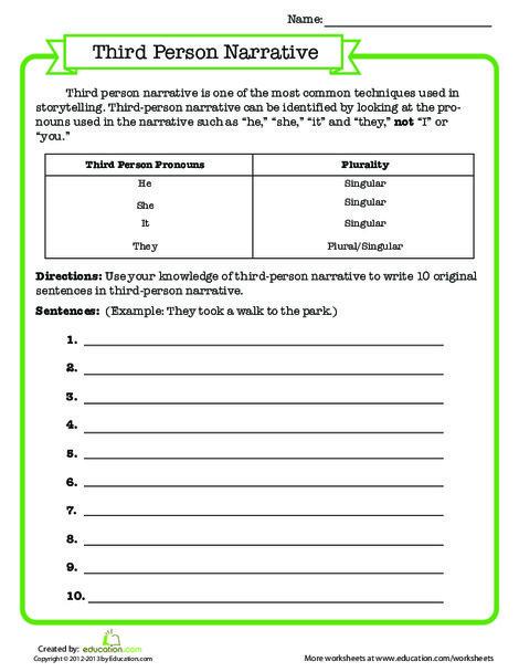 Third Grade Reading & Writing Worksheets: Third Person Narrative