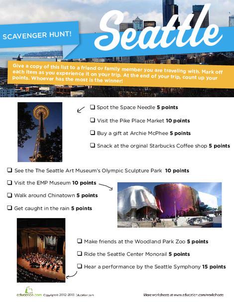 Third Grade Offline games Worksheets: Seattle Scavenger Hunt