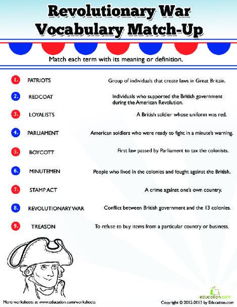 Fifth Grade Social studies Worksheets: Revolutionary War Vocabulary