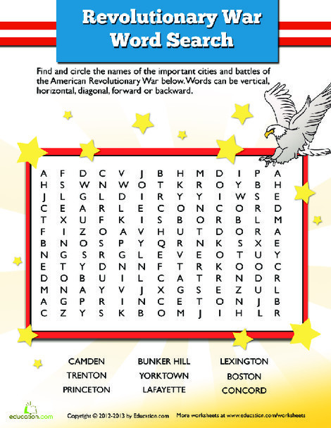 Fifth Grade Social studies Worksheets: American Revolution Word Search
