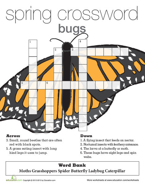 Second Grade Reading & Writing Worksheets: Spring Crossword Insects