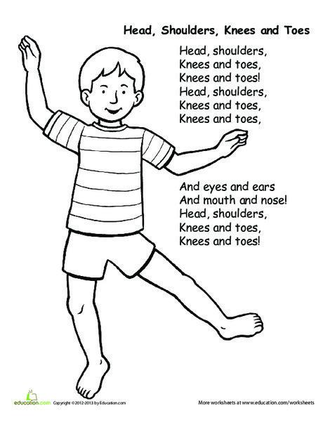 Kindergarten Fine arts Worksheets: Head, Shoulders, Knees and Toes