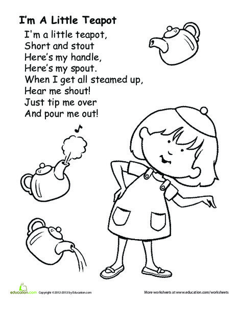 Kindergarten Fine arts Worksheets: I'm a Little Teapot
