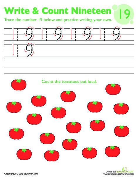 Kindergarten Math Worksheets: Trace Number 19