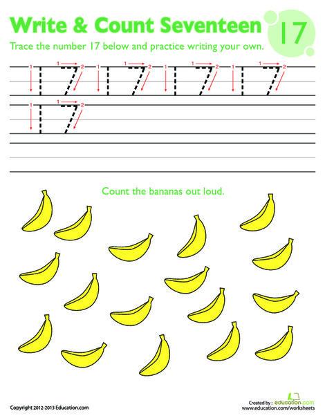 Kindergarten Math Worksheets: Trace Number 17