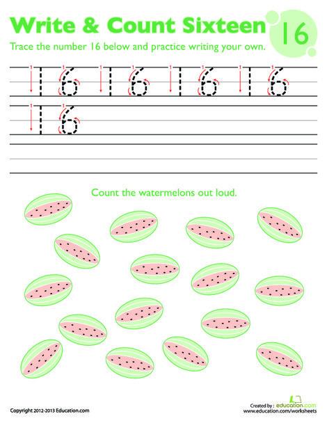 Kindergarten Math Worksheets: Trace Number 16