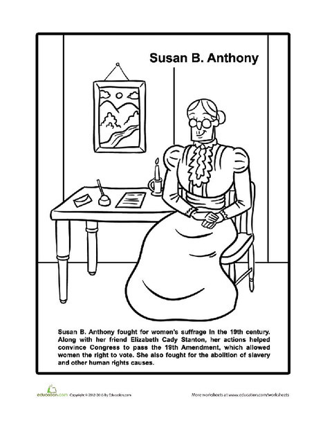 First Grade Coloring Worksheets: Susan B. Anthony Coloring Page