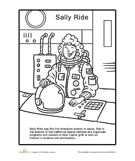 First Grade Coloring Worksheets: Sally Ride Coloring Page