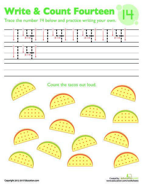 Kindergarten Math Worksheets: Trace Number Fourteen