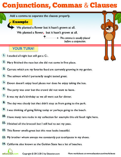 Third Grade Reading & Writing Worksheets: Commas for Kids
