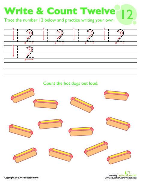 Kindergarten Math Worksheets: Trace the Number 12