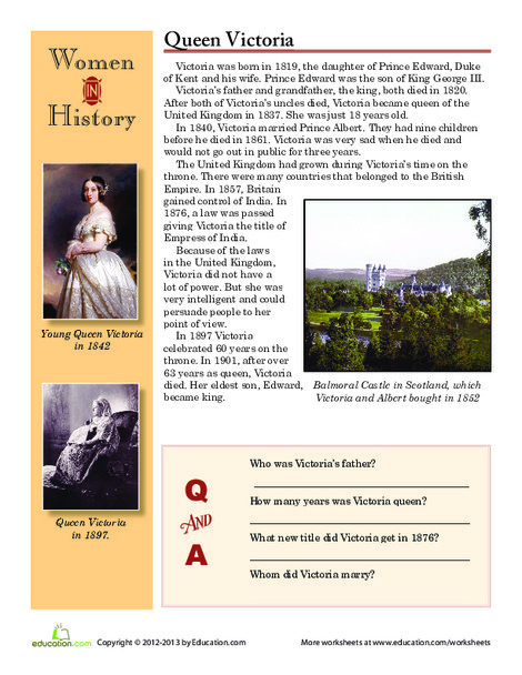Fourth Grade Reading & Writing Worksheets: Women in History: Queen Victoria