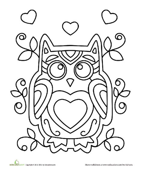 Kindergarten Holidays Worksheets: Valentine Owl Coloring Page