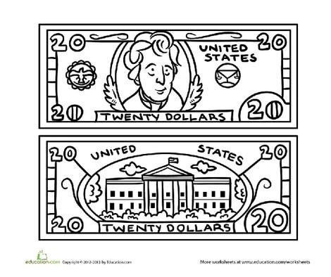 Preschool Math Worksheets: Twenty Dollar Bill Coloring Page
