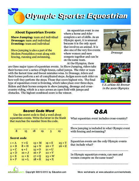 Third Grade Reading & Writing Worksheets: Olympic Equestrian Events