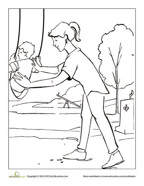 Preschool Holidays Worksheets: Park Swing Coloring Page