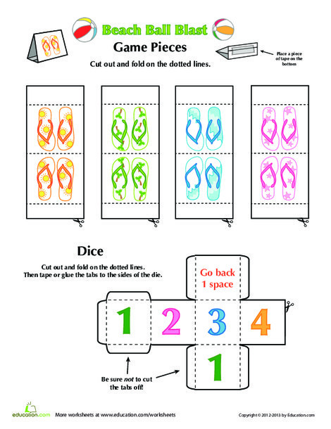 Preschool Offline games Worksheets: Beach Ball Game