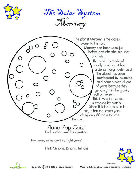 Fourth Grade Science Worksheets: Mercury Facts