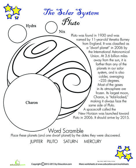 Fourth Grade Science Worksheets: Pluto Facts