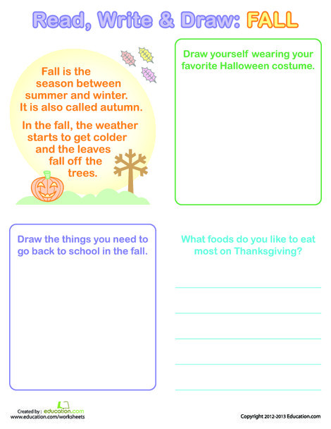 First Grade Reading & Writing Worksheets: Fall Writing For Kids