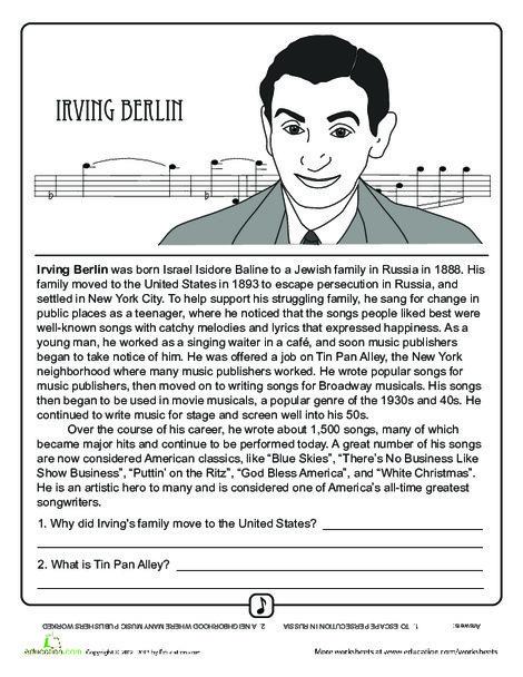 Fourth Grade Fine arts Worksheets: Irving Berlin